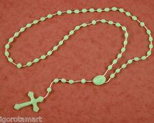 Light Green Glow In Dark Rosary Luminous Noctilucent Religious Accessory UK