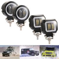 """3"""" 20W White LED Light Spot Driving Fog Lamp Angel Eyes Work Light Pods Offroad"""