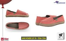 SANUK FIONA SLIP ON SURFER SANDAL SHOES Coral Size 8-US 6-UK 39=EU BNWT