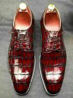 Chaussures habillées à lacets Derby en cuir véritable bordeaux pour homme fait à