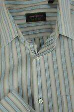 Joseph Abboud Men's Brown & Blue Striped Cotton Dress Shirt 16 x 34/35