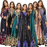 Muslim Women Long Maxi Dress Robe Printed Floral Cocktail Kaftan Islam Abaya Lot