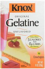 Knox Original Gelatin Unflavored 32 Count Envelopes. Colorless Powder Jello 8 oz