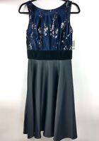 Just Taylor Blue Velvet Sequin Top Black Satin Skirt Sleeveless Dress Party Sz4