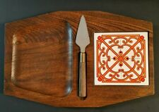 Vintage Artwood Wooden Cheese Cutting Board Tray w/ Retro MCM Tile & Knife