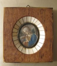 Small Italian religious miniature painting on celluloid, framed.