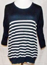 Gap Sweater Nautical Striped 3/4 Sleeve Knit Top Navy Blue White size Medium