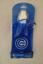 MBL Chicago Cubs Foldable Water Bottle Hold 16 oz Blue New With Clip