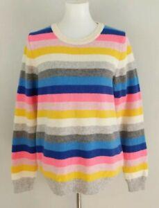 J Crew Rainbow Candy Stripe Teddie Lambs Wool Sweater Crew Neck Long Large L EXC