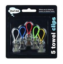 NEW Chef Aid - 5 Tea Bath Cloth Towel Clips Hangers - Premium Grade