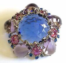 Vintage Schreiner N.Y Brooch Pin~Blue/Lilac/Purple/Pink RS/Silvertone~Signed