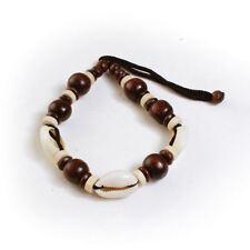 "Cowrie shells Men Women Bracelet - Dark wood   Adjustable Hand Band up to 12""."