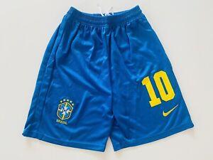 Pele Neymar Jr Ronaldinho #10 Brazil Soccer Shorts Men Size XL Free Ship/Return