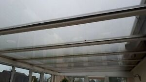 3 Double glazed conservatory roof panels, white PVC, Approx 10ft by 2.5ft