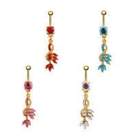 Dangle Navel Belly Ring Crystal Rhinestone Button Barbell Body Piercing Jewelry