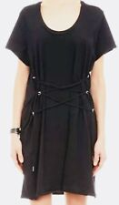 Isabel Marant Black Terris Lace Up Cotton T Shirt Dress Size 36