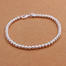 Fantasia argento donna placcato gioielli Charms 4mm sfera bracciale