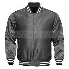 Varsity Baseball Letterman College Bomber Jacket Supreme Quality Gray Satin