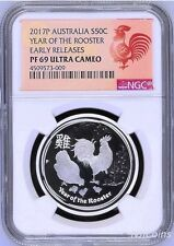 2017 P Australia PROOF Silver Lunar Year of the Rooster NGC PF 69 1/2 oz Coin ER