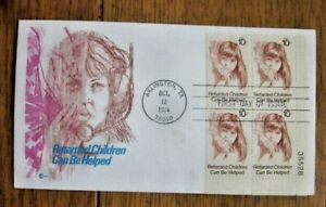 RETARDED CHILDREN CAN BE HELPED 1974 DERBY NH COVERCRAFT CACHET FDC PLATE#BLOCK
