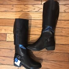 Womens CROFT & BARROW Wide Calf Tall Riding Boots Knee High Black sz 7.5 Wide