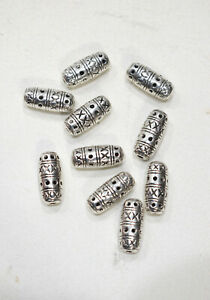 Beads Chinese Silver Etched Tube Beads 18mm