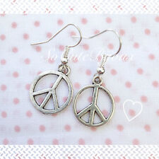Orecchini Pace Peace Earrings Argento Cute Vintage Hipster Indie Punk Rock Love