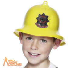 Child Boys Fireman Fire Brigade Chief Hat Fancy Dress Costume Accessory Helmet