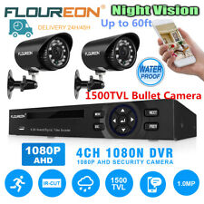 FLOUREON 4CH 1080N HD DVR + 2* 1500TVL 720P Outdoor Camera CCTV Security System