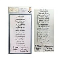 New Baby & Christening Verses Cling Stamps Sentimentally Yours Words Stamp Set