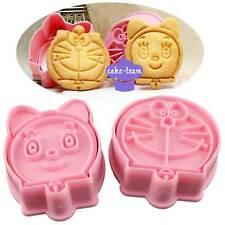 2pcs DIY 3D Baby Shower Doraemon Cookie Cutter Baking Mould Stencil Biscuit Tool