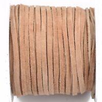 """50ft 1//8/"""" Deerskin Leather Lace BUCKSKIN BEIGE Deer Skin Realeather 3mm Lth0054"""