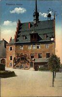 Pössneck Thüringen 1914 Rathaus Restaurant Rathauskeller Lokal AK nach Chemnitz