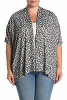 Bobeau Women's Sweater White Black Size 1X Plus Cardigan Leopard Printed #330