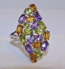 GENUINE! 4.35tcw Amethyst, Citrine & Peridot Oval Cut Ring, Solid S/Sterling 925