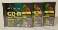 3x IMATION CD-R 1x-4x Compatible 650 MB / 74 MIN Compact Disc Recordable Sealed