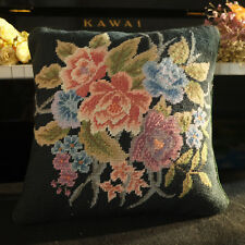 1.1' Excellent Color Combination Needlepoint Pillow Hand Woven Victorain Floral