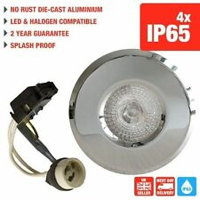 4 X CHROME IP65 DOWNLIGHTS RECESSED BATHROOM SHOWER GU10 SPOTLIGHTS 240V LED