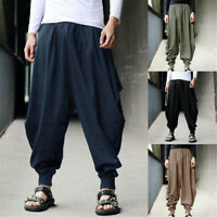 Plus S-5XL Men's Loose Cotton Linen Harem Pants Japanese Samurai Hakama Trousers