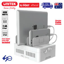 60W 6-Port Charging Station USB with BC1.2 Fast Charge Dock for Apple/Android