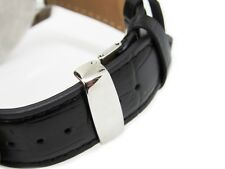 19MM BLACK LEATHER WATCH STRAP BAND WITH BUCKLE Made For TISSOT PRC200 PRS200