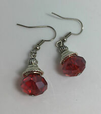 SMALL FACETED RED GLASS CRYSTAL DROP EARRINGS FLUTED BEAD DARK SILVER PL