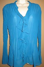 Macys Style & Co Womens Blouse Size 16 Blue Button Down Ruffled Pleated V Neck