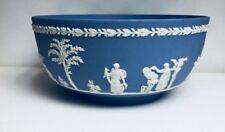 "Rare Vintage Wedgewood Jasper Ware 5"" Bowl Sacrifice Figures White On Pale Blue"