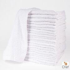 24 NEW COTTON WHITE TERRY CLOTH RESTAURANT BAR MOPS PREMIUM KITCHEN TOWELS 34oz