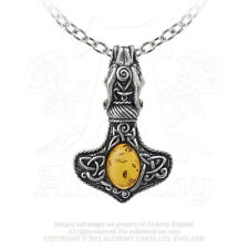 THORS HAMMER Pendant - VIKING Dragon Alchemy Gothic Norse Necklace w/ Amber