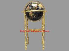 "36"" Tall Black Ocean Gemstone Globe with Four Leg Gold Stand"