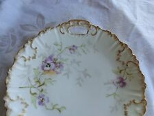 ANTIQUE HAND PAINTED VIOLETS FLORAL LIMOGES FRANCE PORCELAIN HANDLE CAKE PLATE