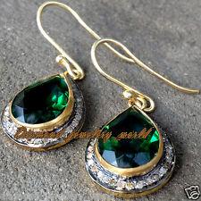 Estate Victorian 1.01ct Rose Cut Diamond Jewelry Emerald Sterling Silver Earring