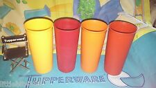 VINTAGE TUPPERWARE LOT OF 4 CLASSIC STRAIGHT HARVEST 12 OZ TUMBLERS CUPS # 115
